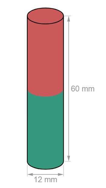 Rod Neodymium magnet D12 mm, height 60 mm-U-Polemag