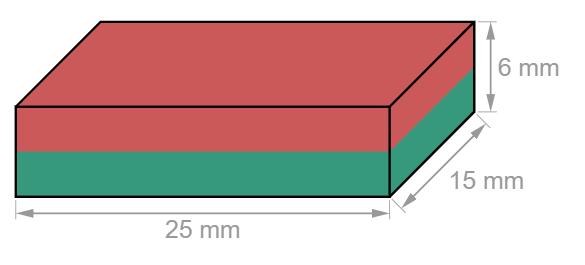 Block Neodymium magnet 25 x 15 x 6 mm-U-Polemag
