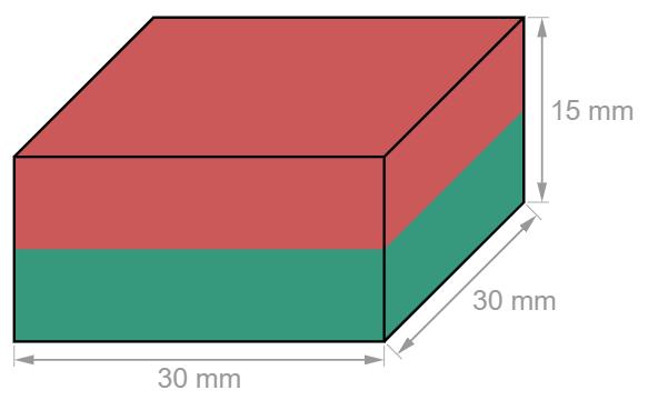 Block Neodymium magnet 30 x 30 x 15 mm-U-Polemag