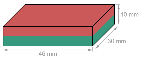 Block Nneodymium magnet 46 x 30 x 10 mm-U-Polemag