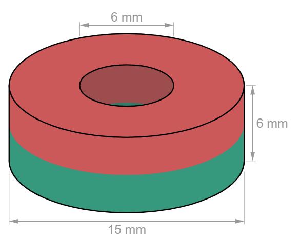 Ring magnet Ø 15/6 mm, height 6 mm-U-Polemag