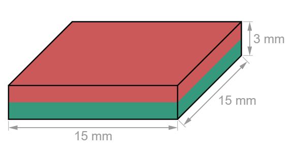 Block Neodymium magnet 15 x 15 x 3 mm-U-Polemag