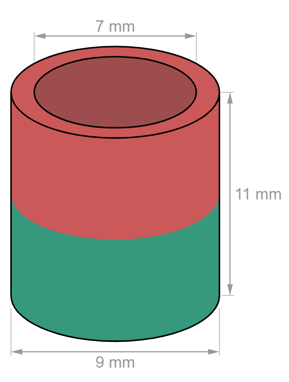 Ring magnet Ø 9/7 mm, height 11 mm-U-Polemag