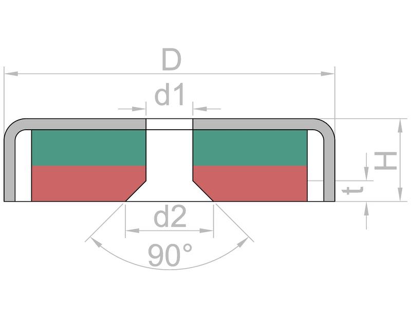 Countersunk pot magnet Ø 13 mm-U-Polemag