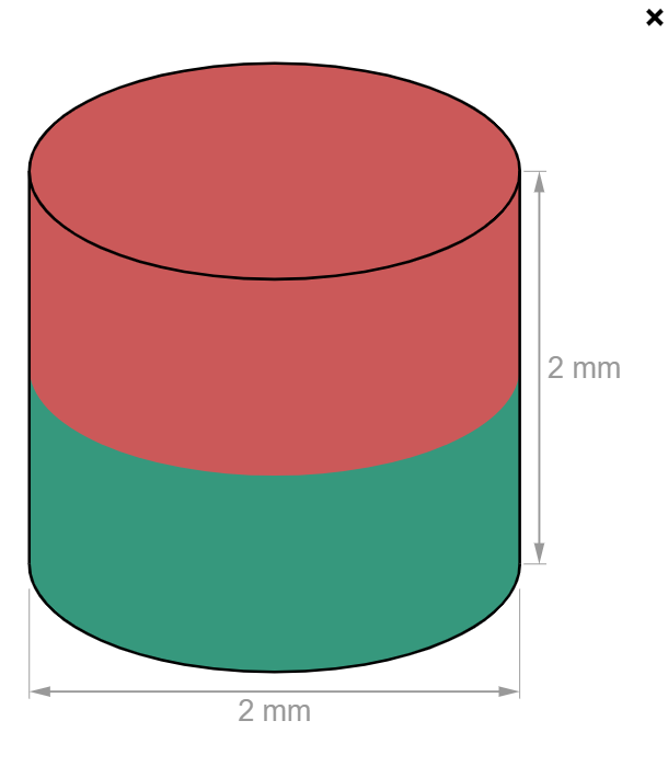 Disc Neodymium magnet D2 mm, height 2 mm-U-Polemag
