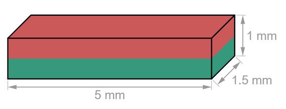 Block Neodymium magnet 5 x 1.5 x 1 mm-U-Polemag