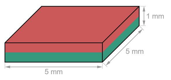 Block Neodymium magnet 5 x 5 x 1 mm-U-Polemag