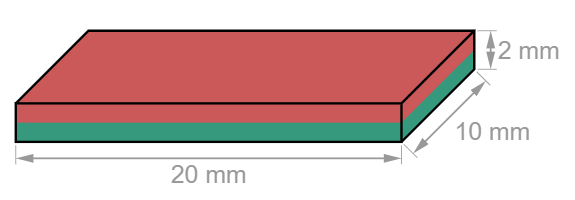 Block Neodymium magnet 20 x 10 x 2 mm-U-Polemag