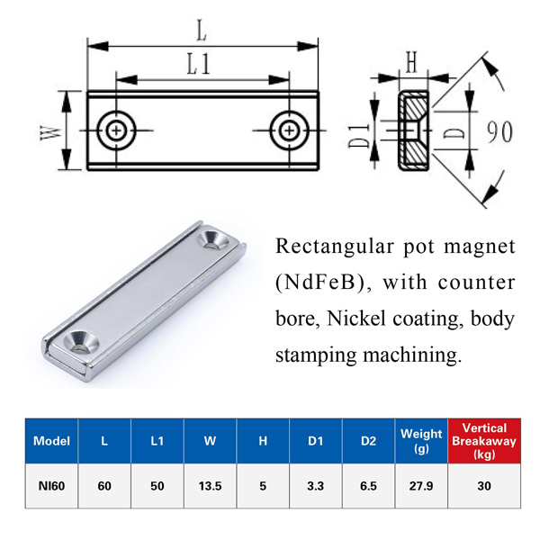 Custom Size Channel Magnet with Countersunk Holes-U-Polemag