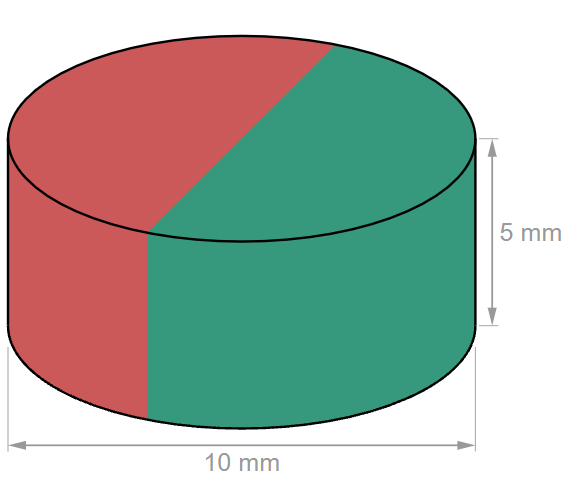 D10x5 mm N45 Disc Neodymium magnet-U-Polemag